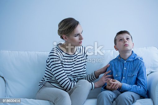 istock Autistic boy and carer 918600414