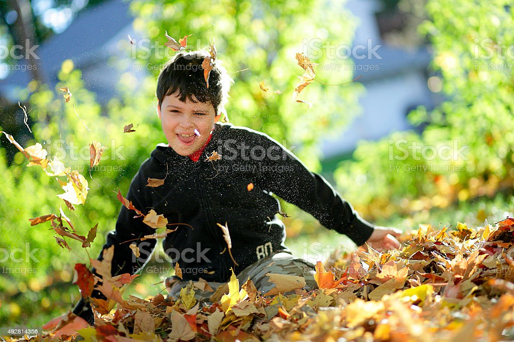 Autistic boy playing in autumn leaves stock photo