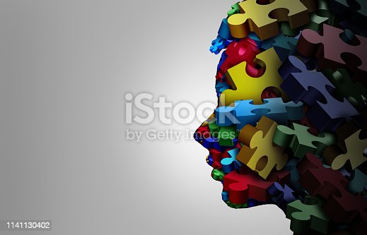 Autistic child symptoms developmental education and autism disorder puzzle children symbol for special learning as jigsaw pieces coming together to form a young student head as a 3D illustration.