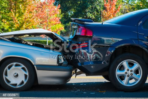 istock Auto accident involving two cars 451333971