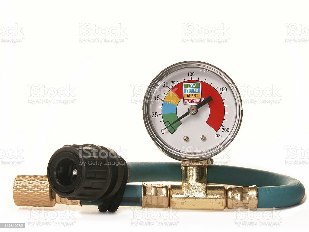 Auto Air Conditioner Pressure Gauge royalty-free stock photo