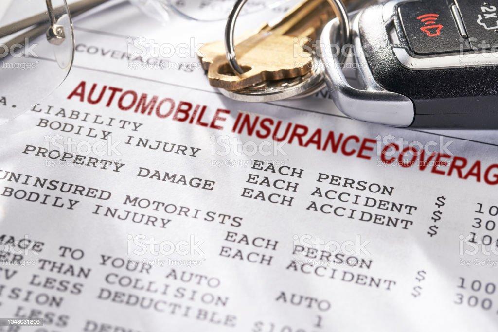 Auto und Car Insurance Policy mit Schlüssel – Foto