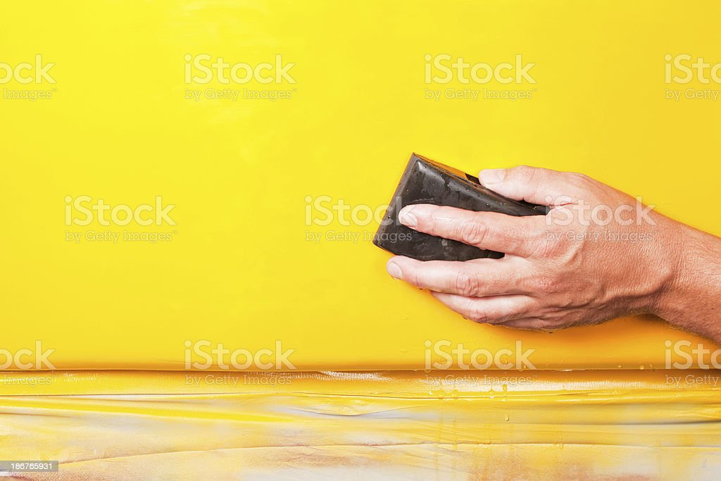 Auto Body Repair – Wet Sanding New Paint stock photo