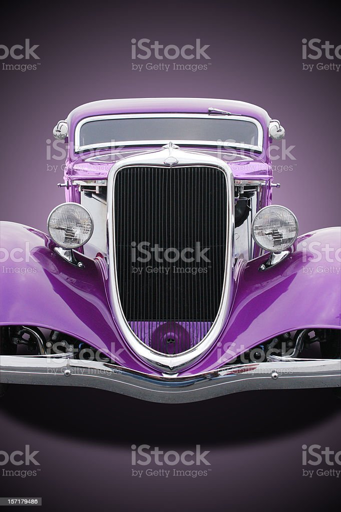 Auto Car - 1934 Ford Hot Rod Front Purple stock photo