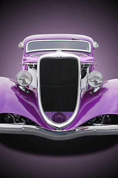 auto voiture-violet ford hot rod 1934 sur le devant - 1934 photos et images de collection