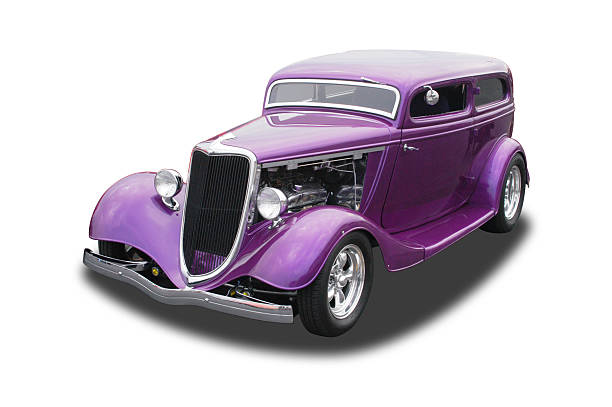 auto voiture-violet ford hot rod 1934 - 1934 photos et images de collection