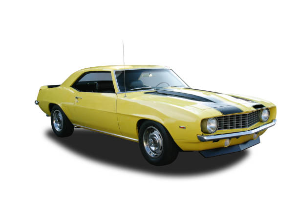 auto car - 1969 chevrolet camaro z/28 - number 69 stock photos and pictures