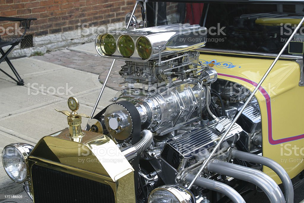Auto Car - Hot Rod Engine with Blower royalty-free stock photo