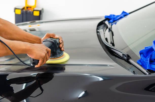 auto detailing car - close up auto foto e immagini stock