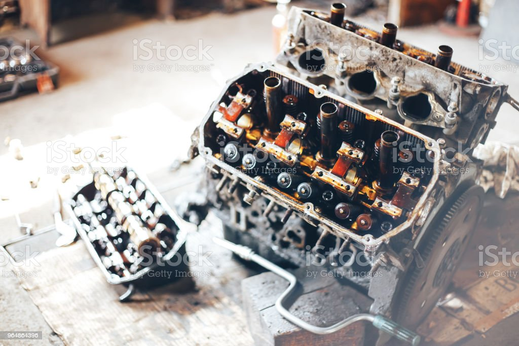 auto engine in garage royalty-free stock photo