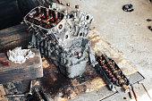 istock auto engine in garage 964884422