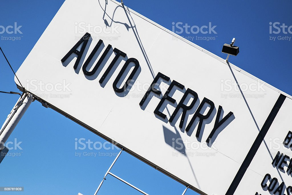 Auto Ferry Sign stock photo