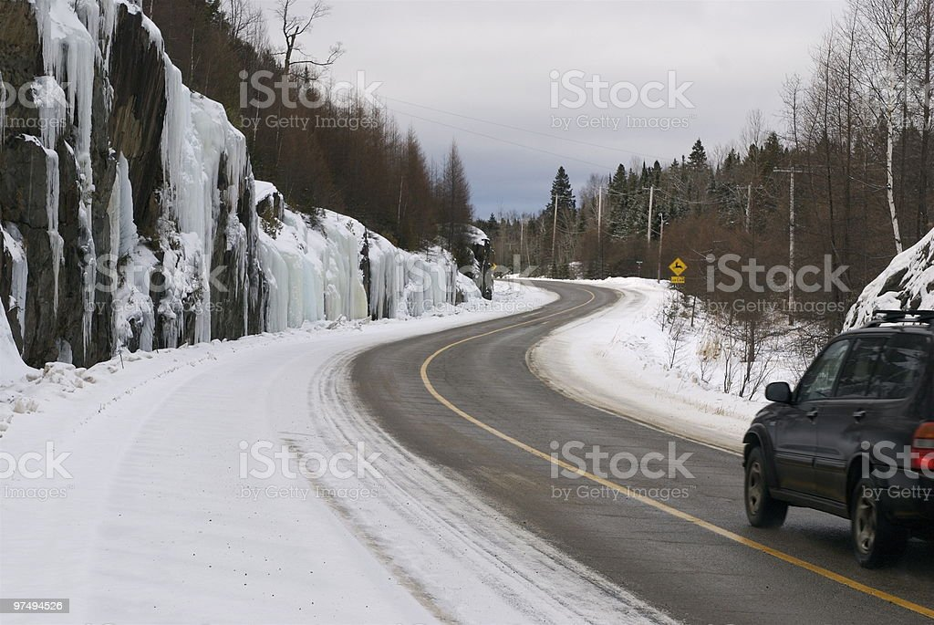 Auto in winter conditions royalty-free stock photo