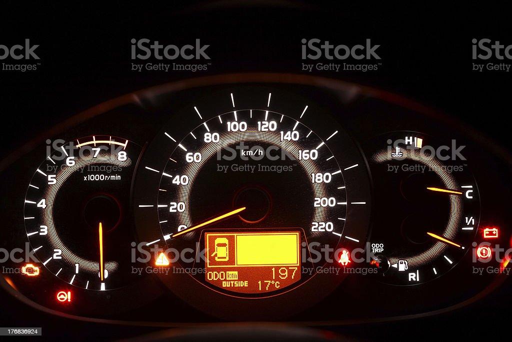 Auto indicator board - closeup of car dashboard royalty-free stock photo