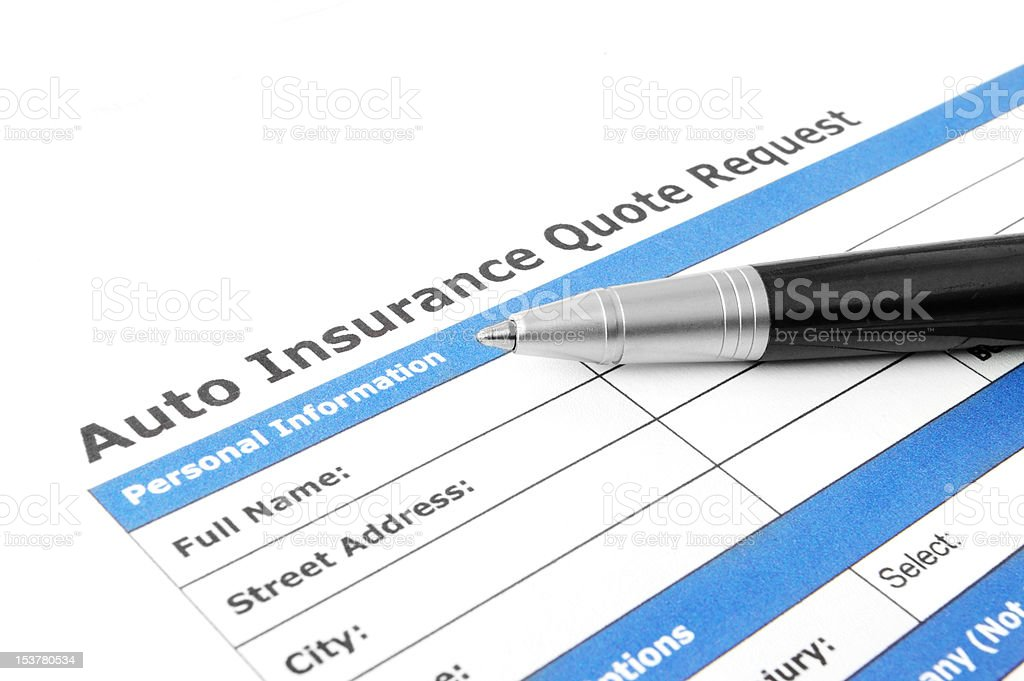 Auto Insurance quote request stock photo