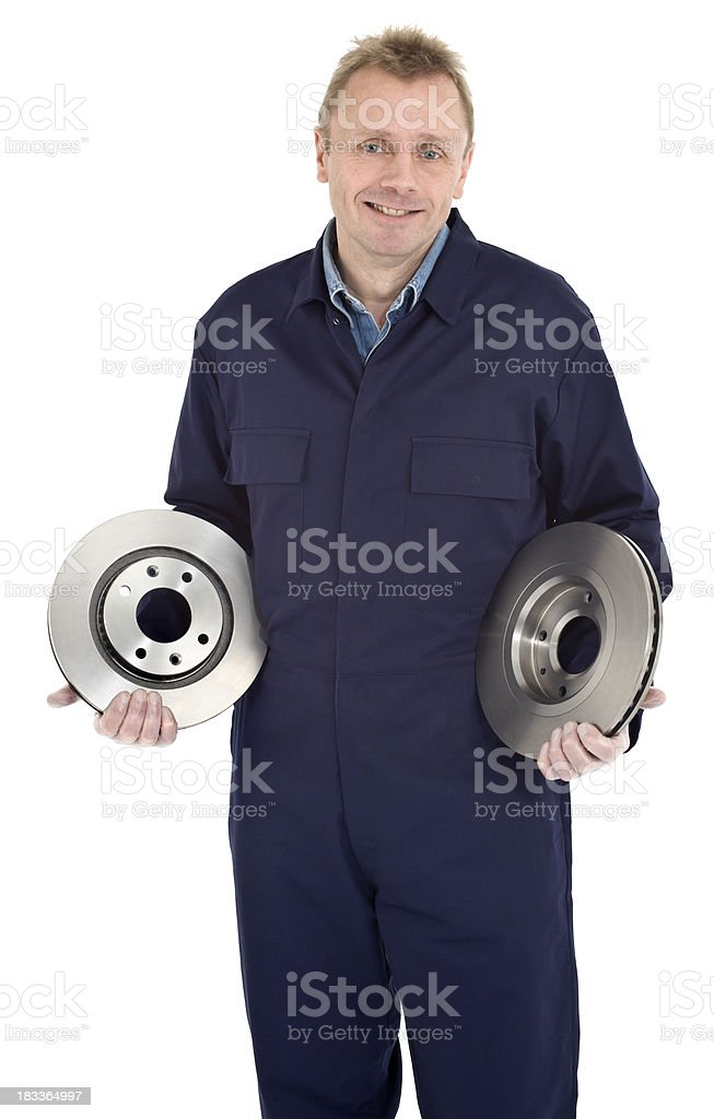 Auto Mechanic holding brake discs stock photo