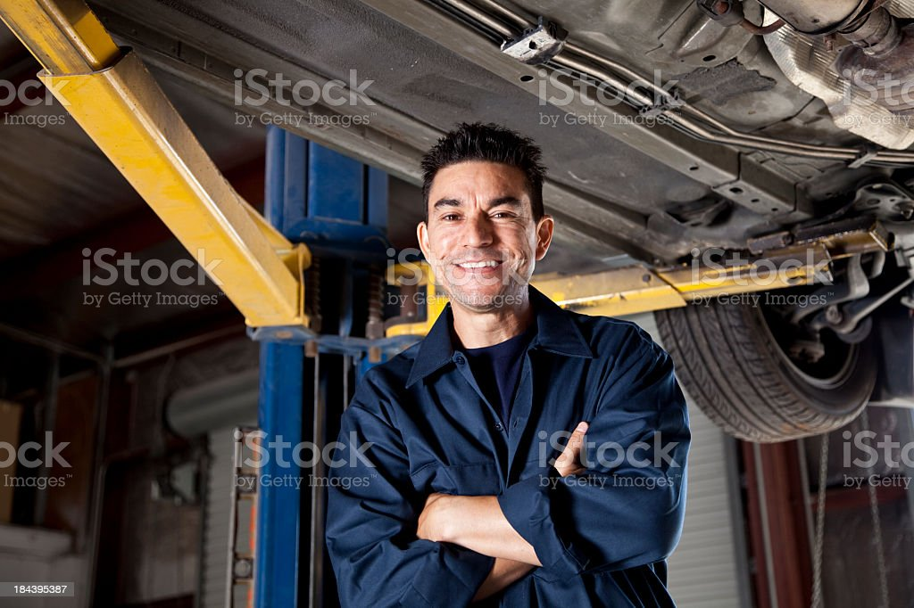 Auto mechanic standing under a car royalty-free stock photo