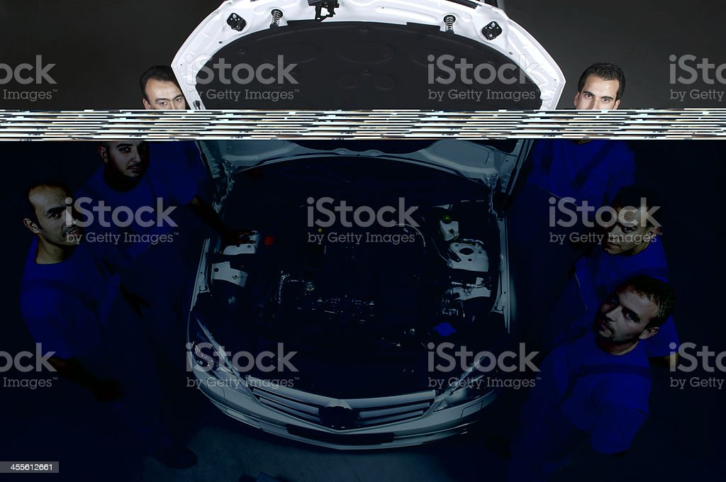 auto mechanic team-thumbs up royalty-free stock photo