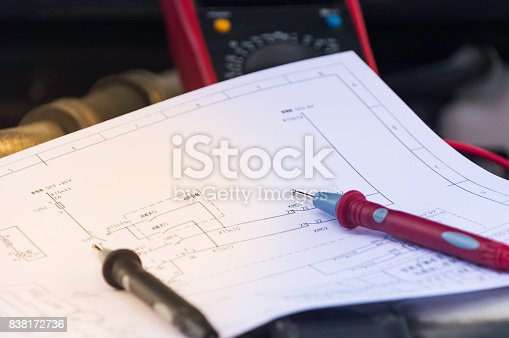 istock Auto mechanic uses a multimeter voltmeter to check the voltage level in a car battery. 838172736
