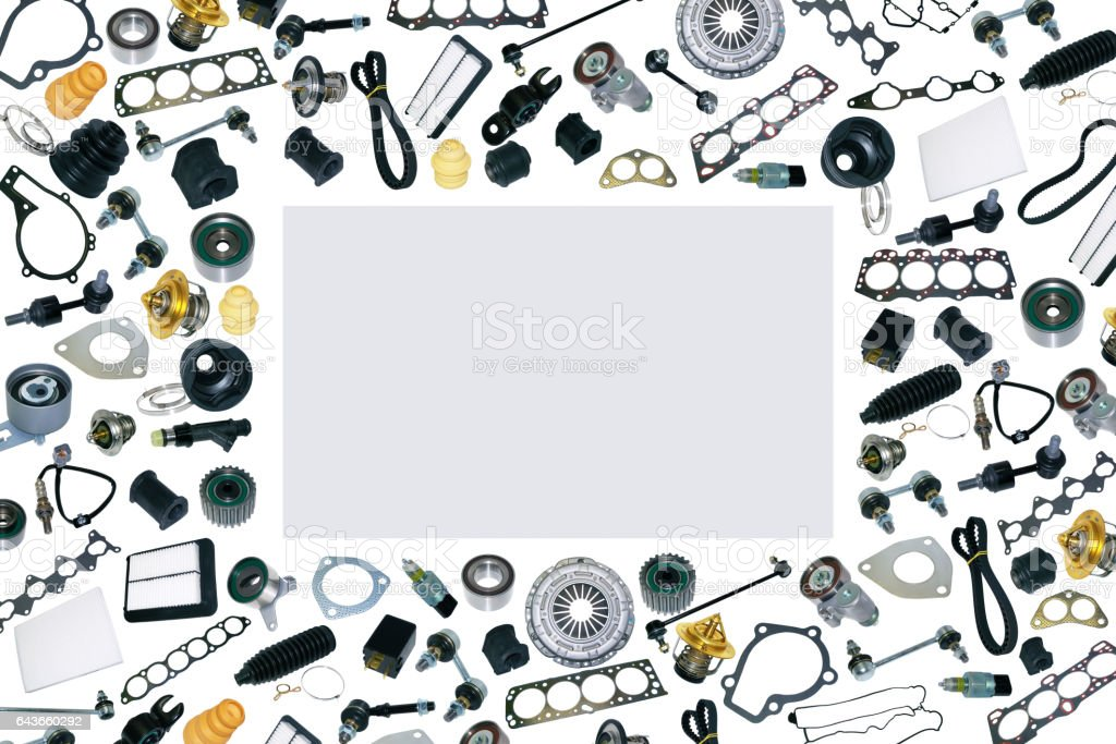 Auto parts car on the white background set stock photo