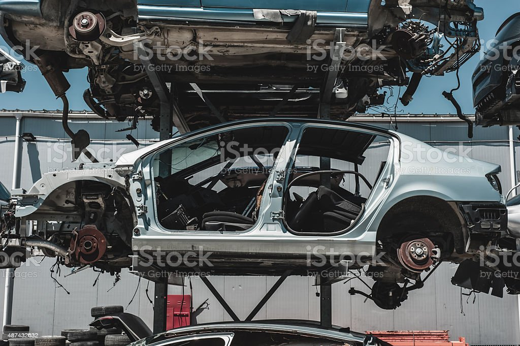 Auto parts dismantling yard. stock photo