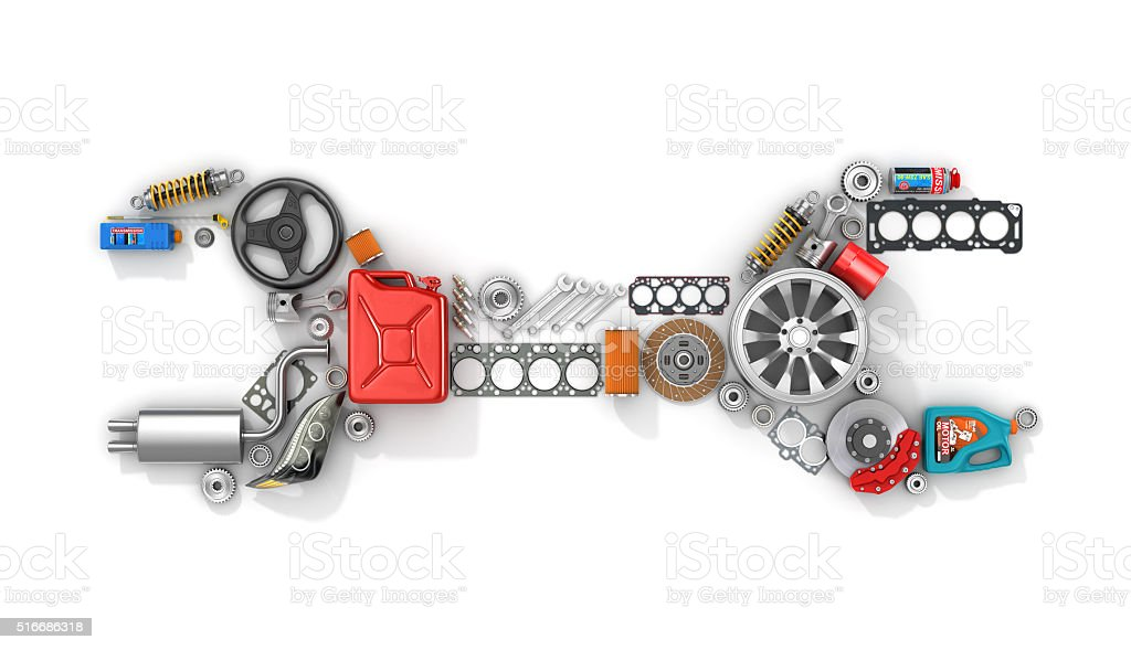 Auto parts in form of car wrench. stock photo