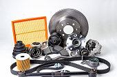 istock Auto parts. Spare parrts for the rapair of cars. Isolated set on white background. 960492826