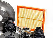 istock Auto parts. Spare parrts for the rapair of cars. Isolated set on white background. 960492958