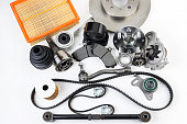 istock Auto parts. Spare parrts for the rapair of cars. Isolated set on white background. 960492984