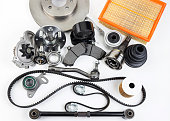 istock Auto parts. Spare parrts for the rapair of cars. Isolated set on white background. 960492992