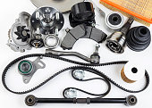 istock Auto parts. Spare parrts for the rapair of cars. Isolated set on white background. 960493050