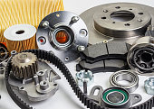 istock Auto parts. Spare parrts for the rapair of cars. Isolated set on white background. 960493080