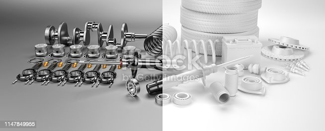 istock Auto parts spare parts car on the grey background. 3D rendering 1147849955
