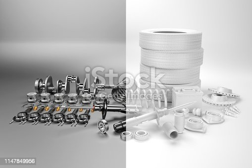istock Auto parts spare parts car on the grey background. 3D rendering 1147849956