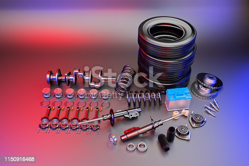 istock Auto parts spare parts car on the grey background. 3D rendering 1150916468