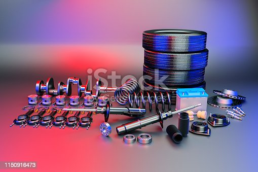 istock Auto parts spare parts car on the grey background. 3D rendering 1150916473