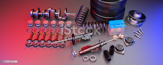 istock Auto parts spare parts car on the grey background. 3D rendering 1150916486