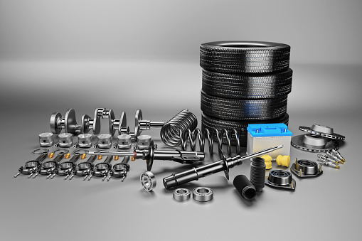istock Auto parts spare parts car on the grey background. 1147751175