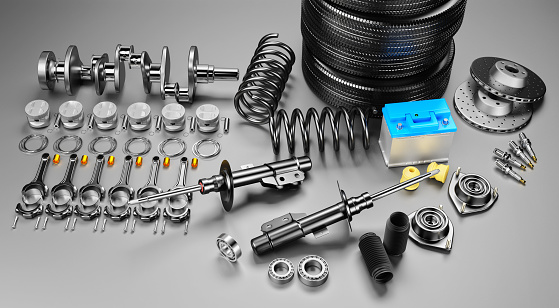 istock Auto parts spare parts car on the grey background. 1147751178