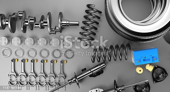 istock Auto parts spare parts car on the grey background. 1147751184