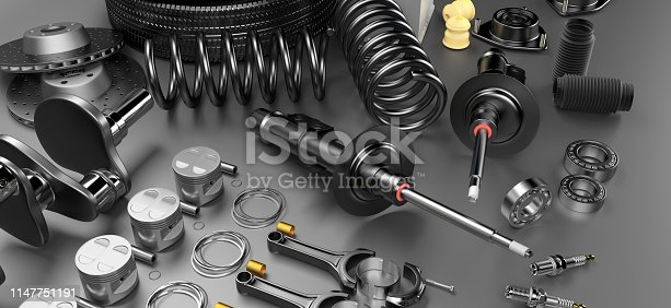 istock Auto parts spare parts car on the grey background. 1147751191