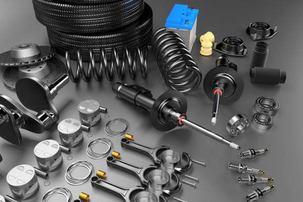 Auto parts spare parts car on the grey background. Auto parts spare parts car on the grey background. Set with many new items for shop or aftermarket. Auto parts for car. 3D rendering vehicle clutch stock pictures, royalty-free photos & images