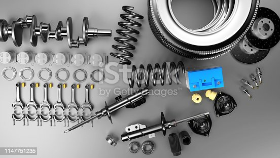 istock Auto parts spare parts car on the grey background. 1147751235