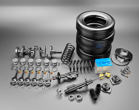 istock Auto parts spare parts car on the grey background. 1147751237