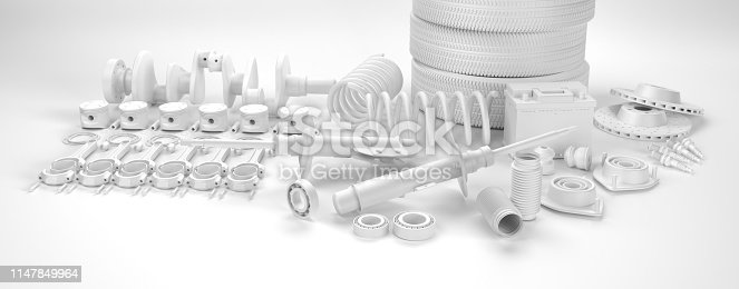 istock Auto parts spare parts car on the white background. 3D rendering 1147849964