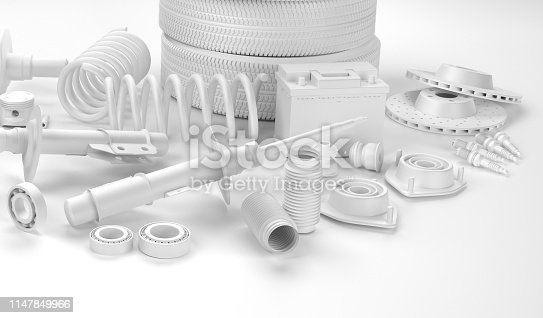 istock Auto parts spare parts car on the white background. 3D rendering 1147849966