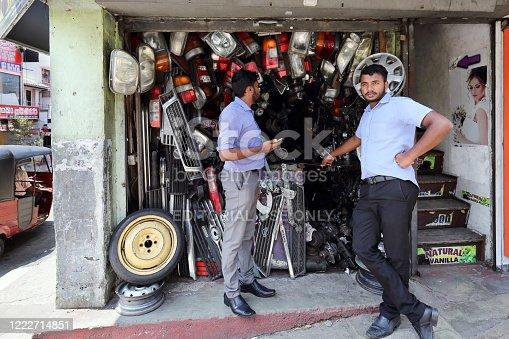 Kandy, Sri Lanka - February 11, 2020: Auto parts store in Kandy downtown