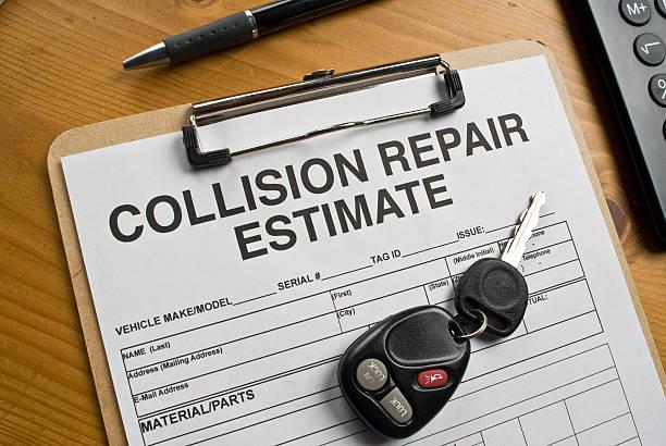 auto repair estimate - krockad bil bildbanksfoton och bilder