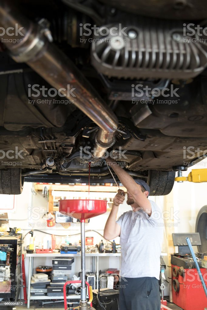 Auto Repair Garage With Mechanic Royalty Free Stock Photo