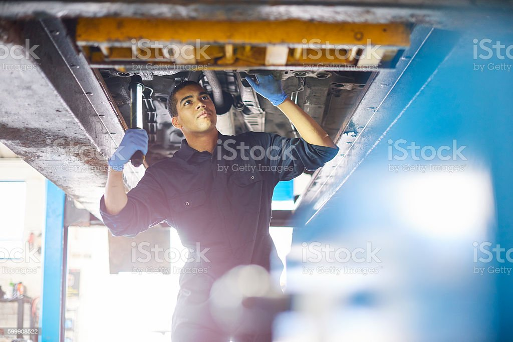 Auto repair mechanic stock photo